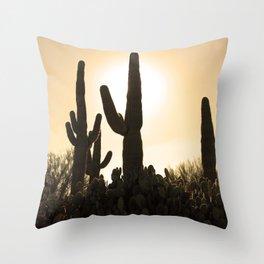 Saguaros in an AZ Sun Glow Throw Pillow