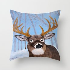Winter Buck Throw Pillow