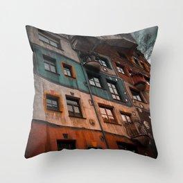 Hundertwasser museum Throw Pillow