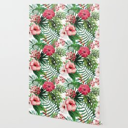 Tropical- Hibiscus and fern Wallpaper