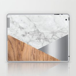 White Marble Wood & Silver #157 Laptop & iPad Skin