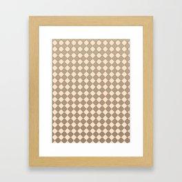 Earthtone square grid pattern Framed Art Print