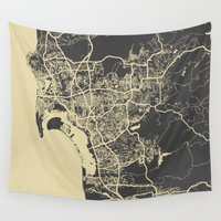 san diego Wall Tapestries featuring San Diego Map by Map Map Maps