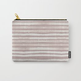 Simply Shibori Stripes Lunar Gray on Clay Pink Carry-All Pouch