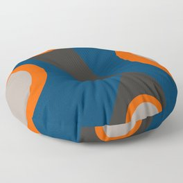 Abstract Shapes Blue and Orange on Black Art Floor Pillow