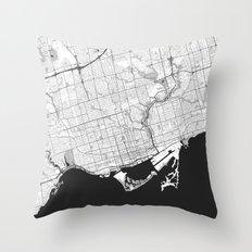 Toronto Map Gray Throw Pillow