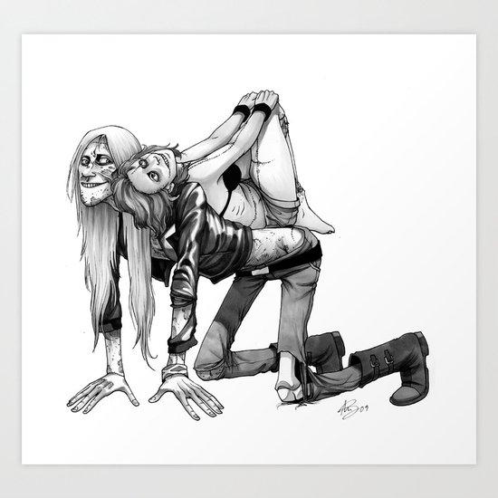 Rocky & Lina (Black & White) Art Print