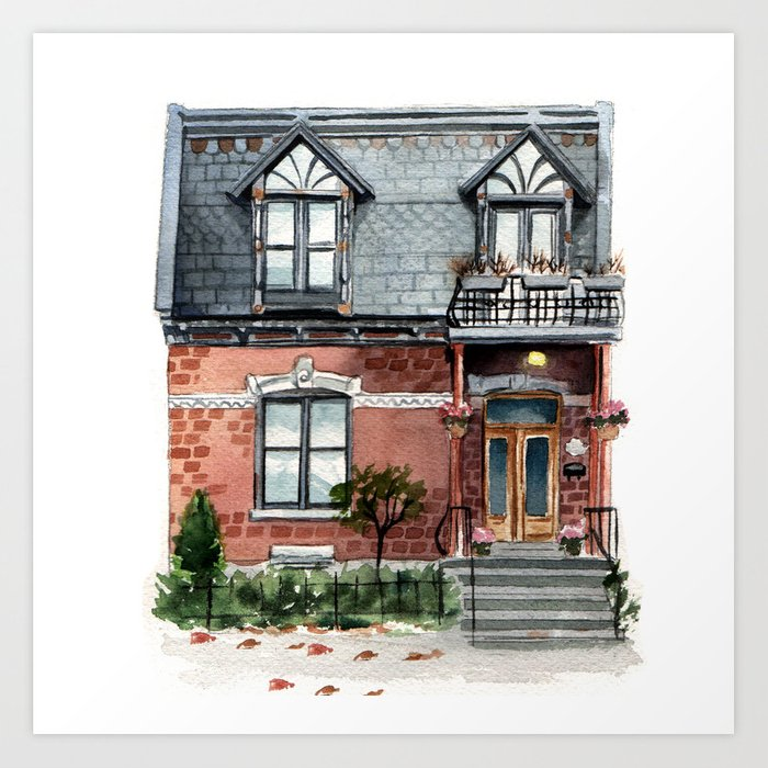 Sunday's Society6 | Watercolor house art print