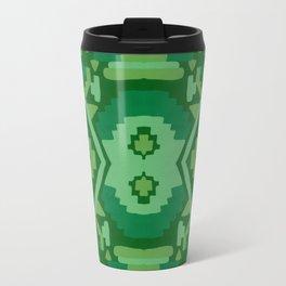 Geometric Aztec in Forest Green Travel Mug
