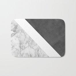 Black white geometrical abstract charcoal marble Bath Mat