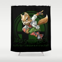 super smash bros Shower Curtains featuring Fox - Super Smash Bros. by Donkey Inferno