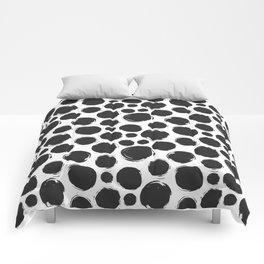 Dry brush black ink dots Comforters