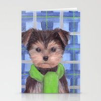 yorkie Stationery Cards featuring Yorkie Poo in Scarf  by KAZUMI