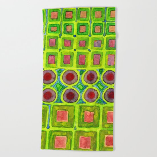 Connected filled Squares Fields Beach Towel