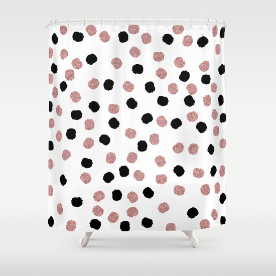 Modern rose gold black abstract brush polka dots Shower Curtain by ...