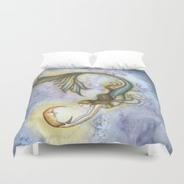 Deep Sea Moon Fantasy Mermaid Art Illustration by Molly Harrison Duvet Cover