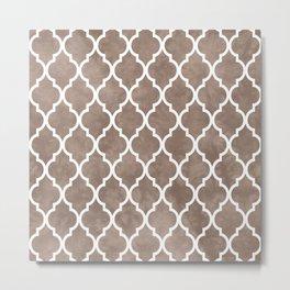 Classic Quatrefoil Lattice Pattern 913 Beige Metal Print