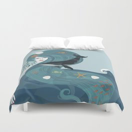 Aquatic Life of a Seaflower Duvet Cover