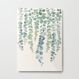 Watercolor Eucalyptus Leaves Metal Print