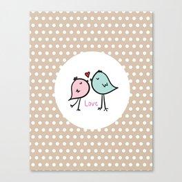 Love Birds with Beige Pattern Canvas Print