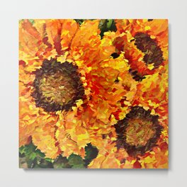 Sunflowers Abstracted Metal Print