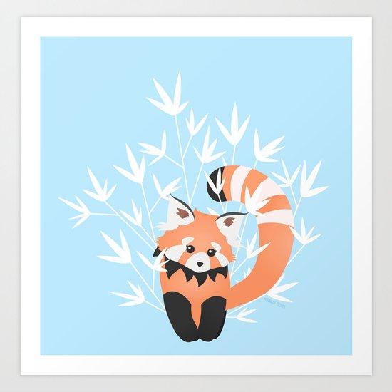 Baby Red Panda / Sky Art Print