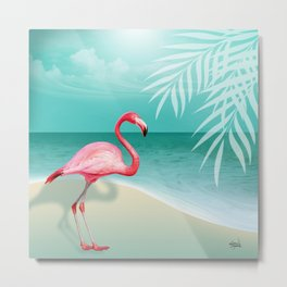FLAMINGO BEACH | aqua Metal Print