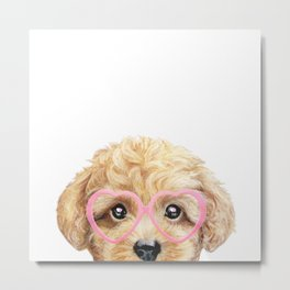 Valentine's day special edition beige toy poodle with pink glassese Metal Print