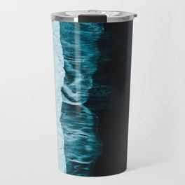Waves on a Icelandic black beach Travel Mug