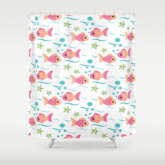 Tropical pink fish shower curtain by dmiller society6 for Tropical fish shower curtain