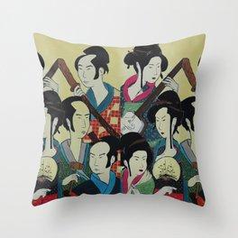 Japanese Beauties Throw Pillow