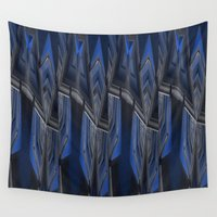 industrial Wall Tapestries featuring Industrial Spin Up Blue by Jennifer Warmuth Art And Design