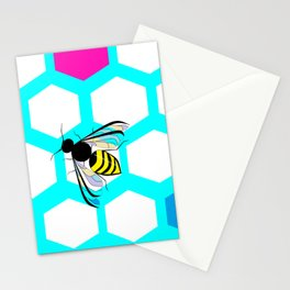 A Many Colored Honeycomb and Bee Stationery Cards