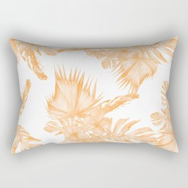 Island Vacation Hibiscus Palm Coral Orange Rectangular Pillow