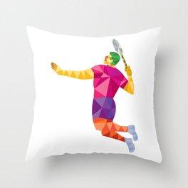Badminton Player Jump Smash Low Polygon Throw Pillow