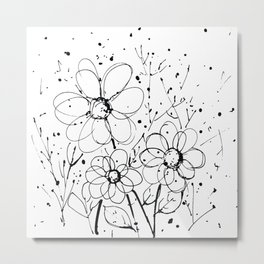 Scribble Doodle Flowers No.7A by Kathy Morton Stanion Metal Print