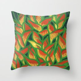 Lobster Claw / Heliconia Rostrata, tropic flowers, green, yellow & orange Throw Pillow
