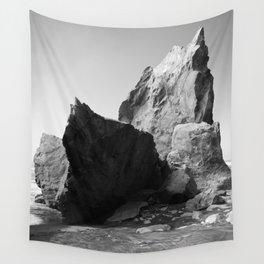 Boulder Beach Geology Rocks Washington Pacific Ocean Shore Coastal Nautical Abstract Black White Wall Tapestry
