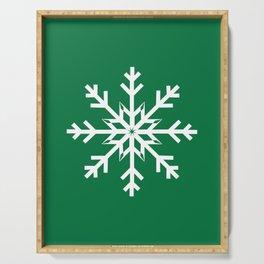 Designer Snowflake Green Background Serving Tray