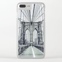 The Brooklyn Bridge in Black and White Clear iPhone Case
