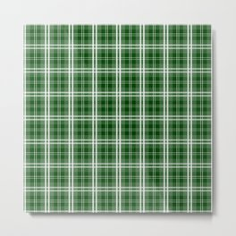 Christmas Tree Green Tartan Plaid Check Metal Print