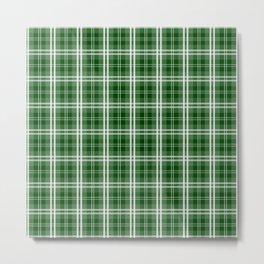 Christmas Tree Green Tartan Plaid Check Metal Print