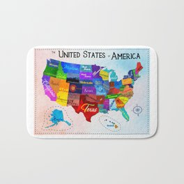 Watercolor Mosaic Map of America Bath Mat