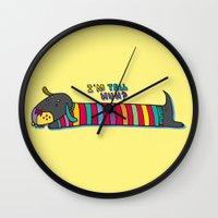 dachshund Wall Clocks featuring Dachshund by PINT GRAPHICS