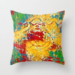 6759s-KMA The Woman in the Stained Glass Sensual Feminine Energy Emerging Throw Pillow