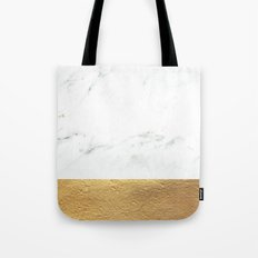 Color Blocked Gold & Marble Tote Bag