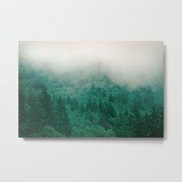 Misty Moody Mountain Forest Fog Northwest Oregon Washington Metal Print
