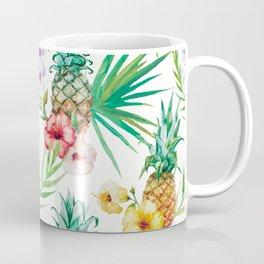 Tropical leaves flowers and pineapple Coffee Mug