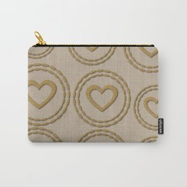 Cute Gold Hearts Pattern Linen Carry-All Pouch