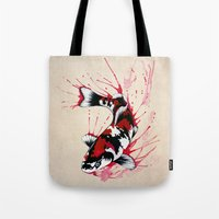 koi Tote Bags featuring Koi by Puddingshades